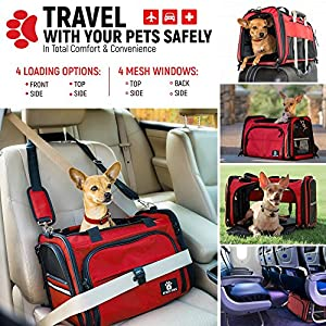 Premium Airline Approved Travel Pet Carrier – BONUS Carry Bag – 4 loading options - Extra Spacious Soft Sided Under Seat Pet Carrier - Tote Purse Bag for Small Dogs - Red