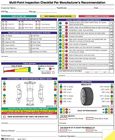 Amazon.com : Auto Repair Multi-Point Inspection Forms - (250/pack ...