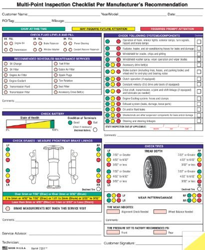 Auto Repair Multi-Point Inspection Forms - (250/pack)