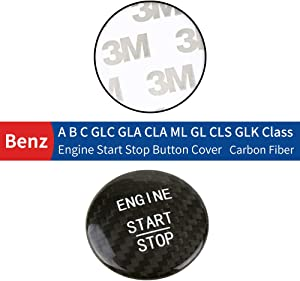 Huichi Carbon Fiber Car Engine Start Stop Button Cover Keyless Go Ignition Stickers for Mercedes Benz A B C GLC GLA CLA ML GL Class W176 W246 W205 X 253 X156 C117 (Black)