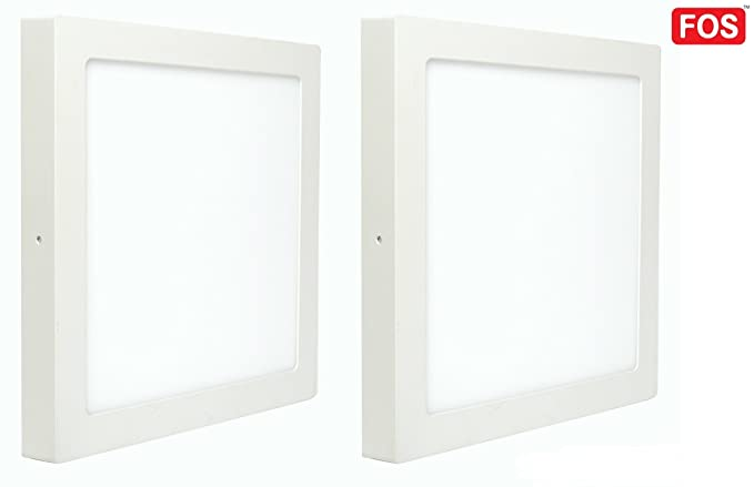 Fos 24w Surface Mount Led Panel Ceiling Light 2400 Lumens Square Warm White 2700k Pack Of 2