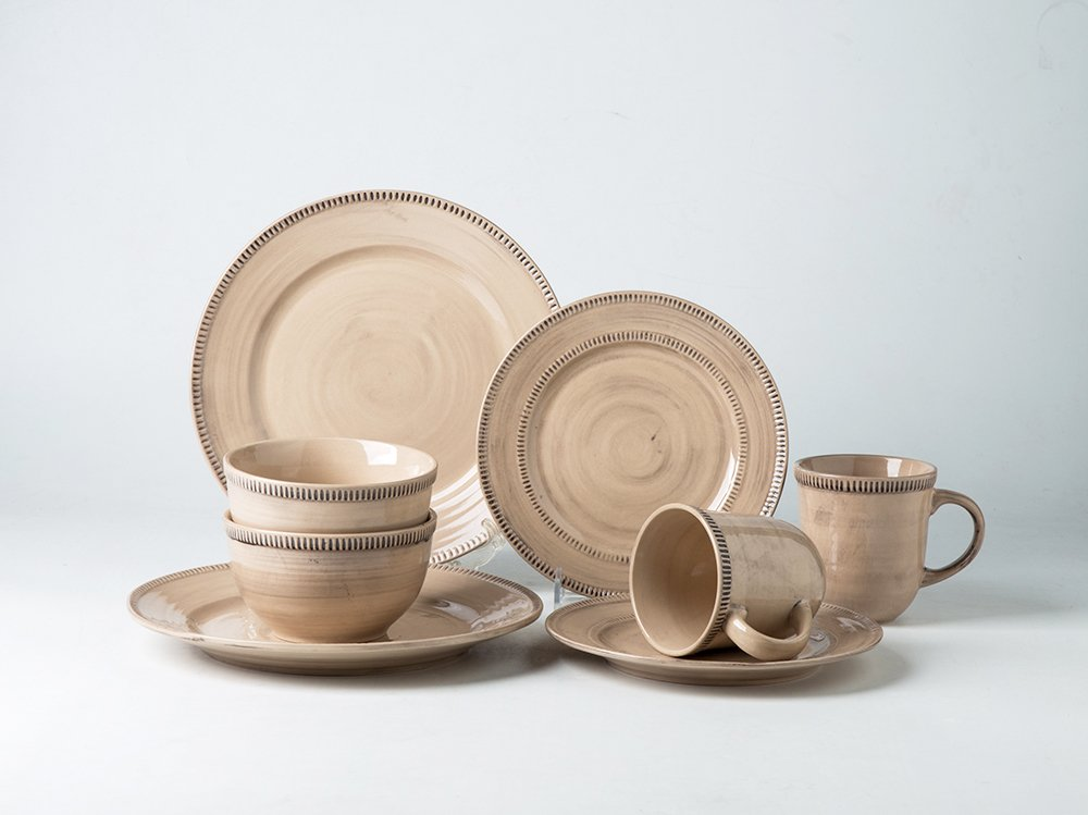 Handmade Coffee au Lait 8-Piece Dinnerware Set Service for 2