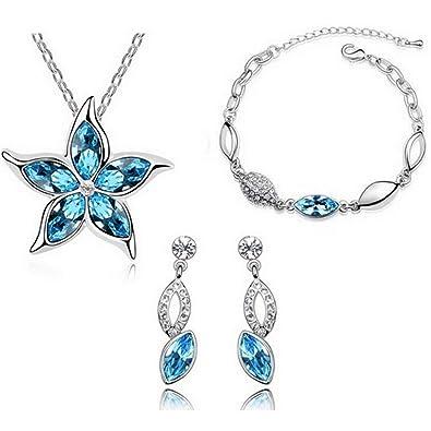 MAFMO Hot Sell Five Leaves Flower Pendant Jewelry Set Crystal Star Necklace  Bracelet Earrings