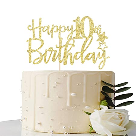 Gold Glitter Happy 10th Birthday Cake Topper