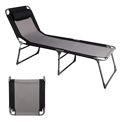 Strange Portal Folding Camping Cot Patio Beach Poolside Chaise Lounge Chair Bed Seat Height 15 75 4 Adjustable Reclining Positions Support 300Lbs Unemploymentrelief Wooden Chair Designs For Living Room Unemploymentrelieforg