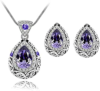 Necklace & Earrings Set (Purple)