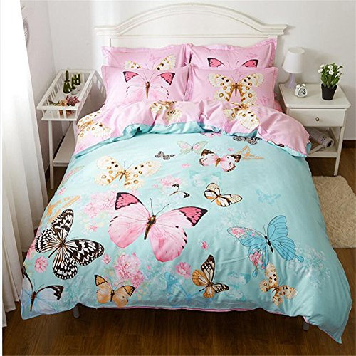 Dodou new style butterfly Garden Theme Duvet Cover Sets Girls Bedding set Reactive printing gueen 4pcs