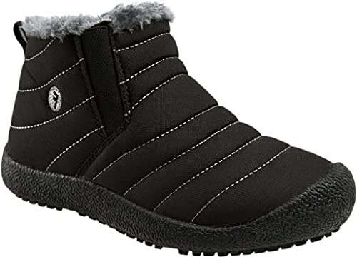 Kids Boys Girls Snow Boots Fur Lined Anti-Slip Rubber Sole Warm Winter Shoes Outdoor Booties