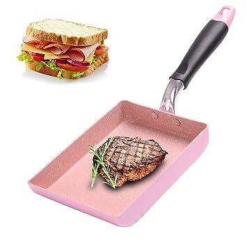 Sartén antiadherente sin humo huevo pizza sartén cuadrada cocina inducción rosa utensilios de cocina desayuno olla