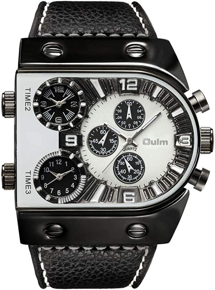 Relojes de Hombre Reloj de Pulsera de Cuero Casual de Cuarzo Reloj Deportivo Reloj de Hombre Militar de Zona horaria múltiple Masculino Reloj Hombre