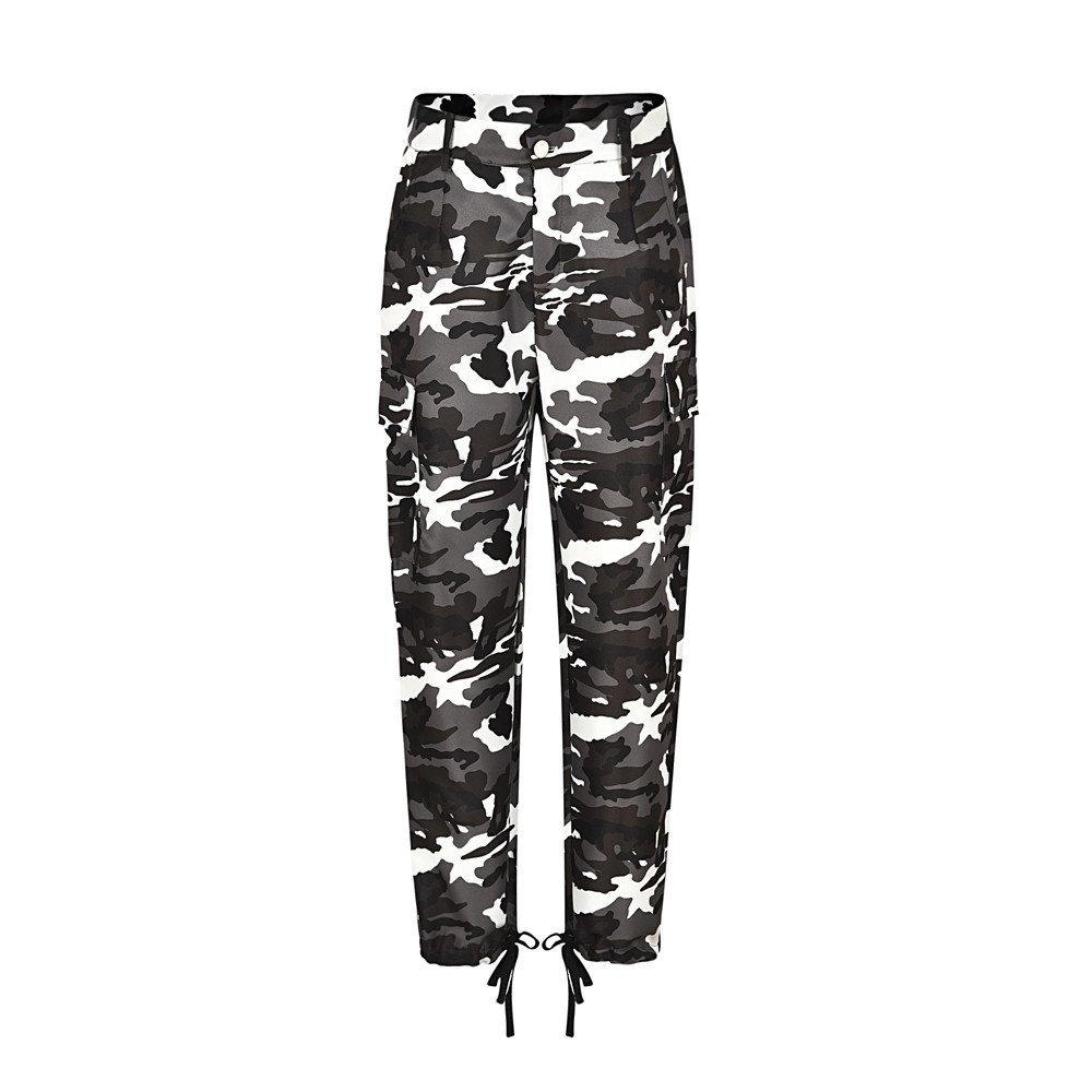 Geetobby Womens Camo Cargo Trousers Casual Hip Hop Rock Pants Camouflage Jeans