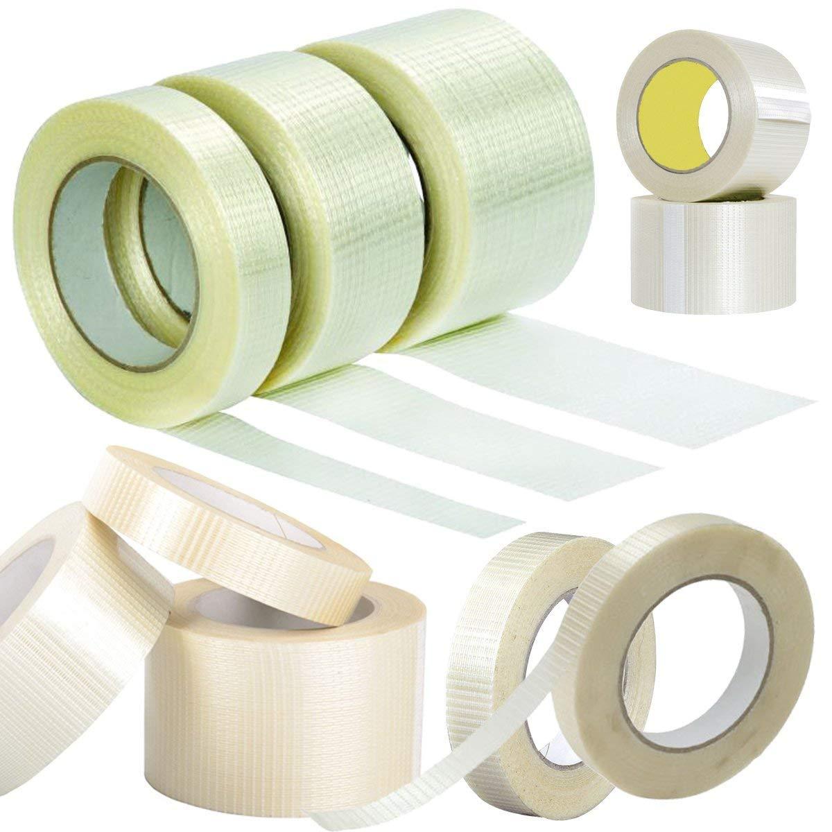 Comtechlogic® CM-5095 Extra Strong Cross Weave Fibreglass Reinforced Filament Tape Heavy Duty Tear Resistant Packaging Parcel Box Sealing Packing Tape (1, 50mm x 50M) Comtechlogic®