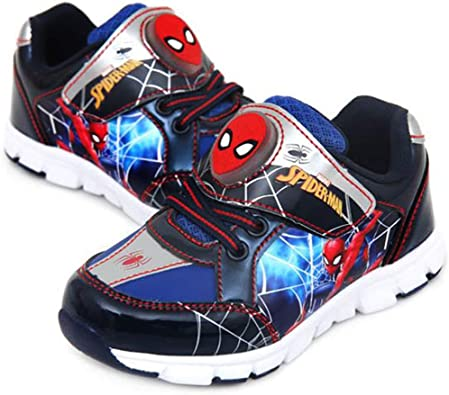Toddler//Little Kid Joah Store Spider-Man Light Up Shoes for Boys Black Red Silver Anti-Skid Sneakers