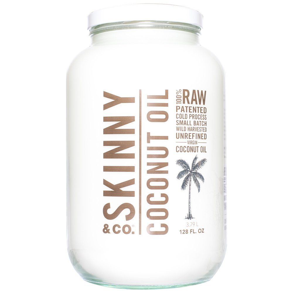 SKINNY and CO. 100% Raw, Virgin, Skinny Coconut Oil for Skin, Hair, Supplement and Cooking (128 oz/1 Gallon)