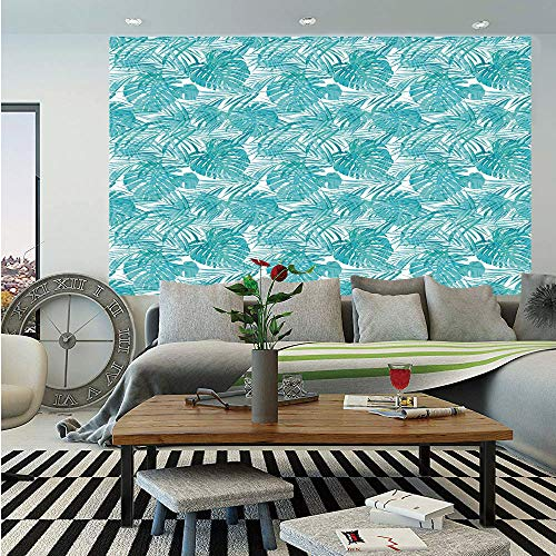 Light Blue Wall Mural,Neo Camouflage Tropical Summer Pattern Palm Tree Leaves Hawaiian Decorative,Self-Adhesive Large Wallpaper for Home Decor 83x120 inches,Light Blue Turquoise White