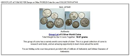 1000 unknown GROUP LOT of 5 Old SILVER Europe or Other WORLD