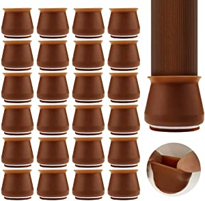 Upgraded 24 PCS Chair Leg Caps with Felt Bottom Round&Square Silicone Chair Leg Protectors, Elastic Furniture Silicone Protection Cover to Prevent Floor Scratches and Reduce Noise (Coffee)