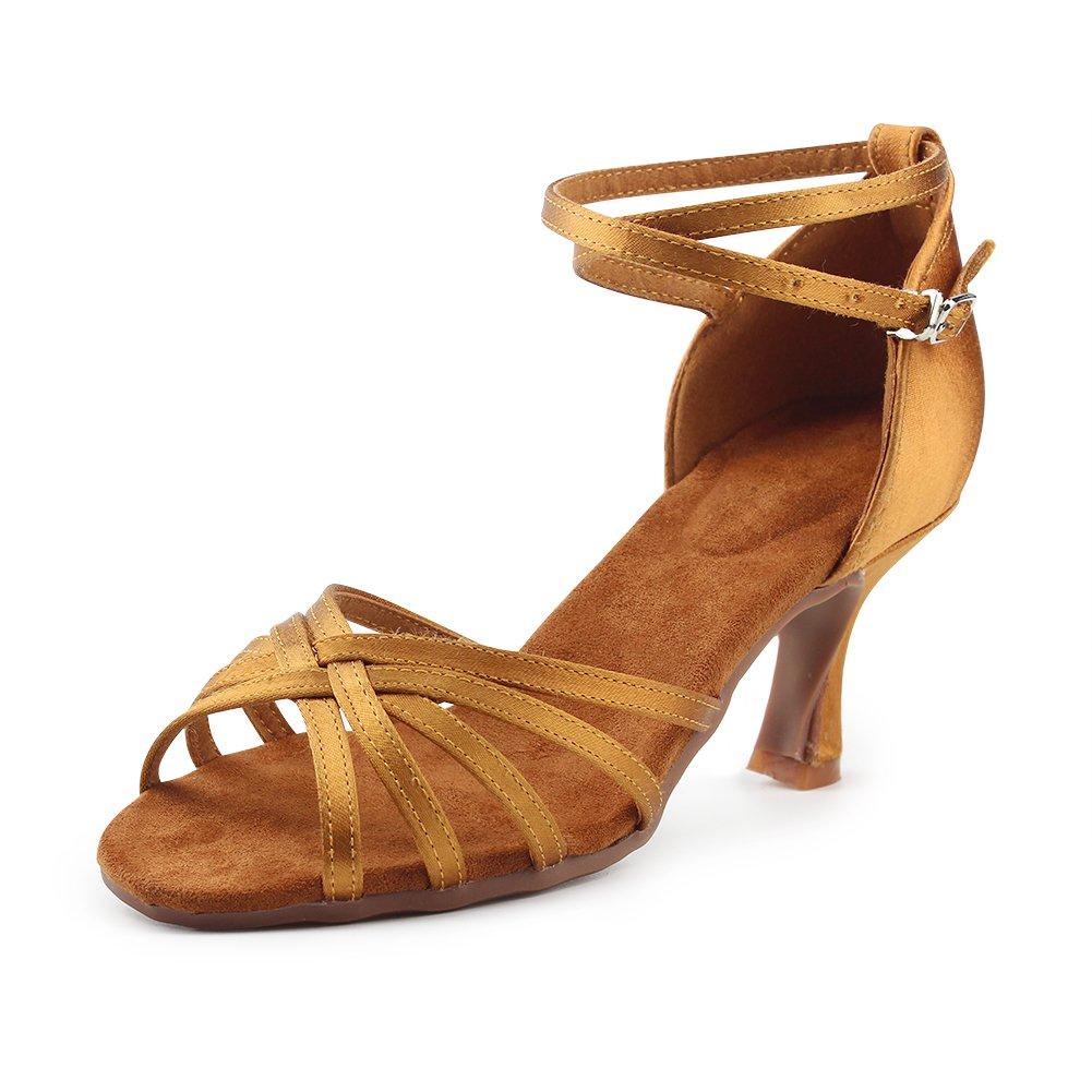 MSMAX Women's Outdoor Ballroom Latin Wedding Party Dance Shoes Brown,Size 9