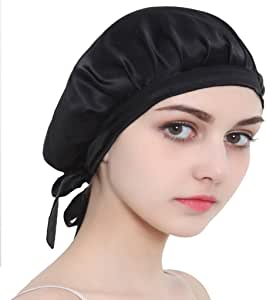 Dolity 100% Silk Night Sleeping Cap Bow Bonnet Hat Womens Hairstyle Care Hats - Black, as described