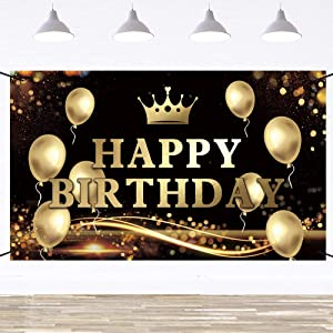 Ushinemi Happy Birthday Backdrop Banner with Gold Balloons Sign for Party Decorations, Large Birthday Party Decorations Photo Background, Black and Gold, 6 x 3.6 Feet