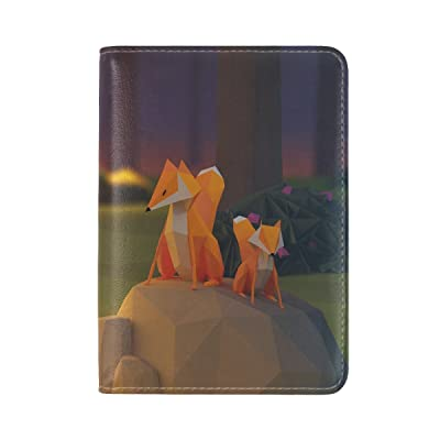 Fox Stone Fire Paper Figures Leather Passport Holder Cover Case Travel One Pocket