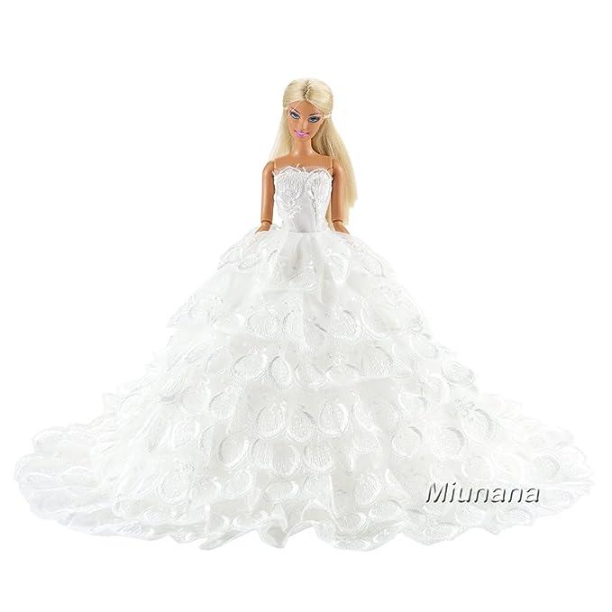 Miunana 1 Princesa Elegante Vestido de Noche Novia Vestir Boda Ropa de Fiesta para la Mu/ñeca del Barbie Doll
