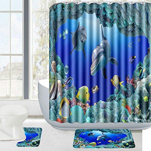 Amagical 15 Piece Ocean Style Underwater World Dolphin Bathroom Mat Contour Fabric Shower Curtain