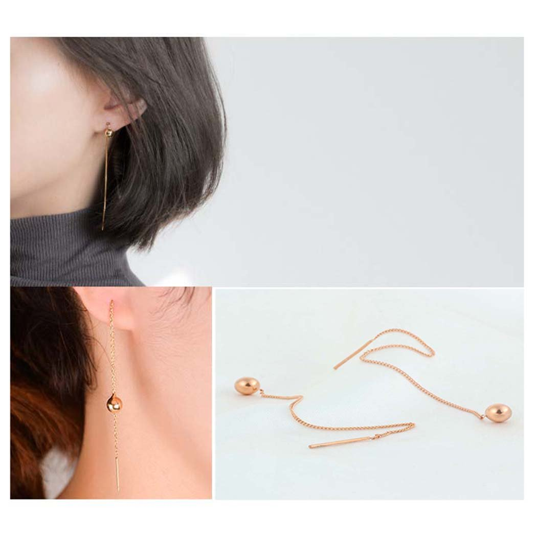 Minimalism Threader Tassel Earrings Stainless Steel Tiny Ball Drop Long Chain Earrings