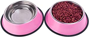 Whippy Stainless Steel Dog Water Bowl for Small,Medium,Large Pets Feeder Bowls with Rubber Base(Pink,Set of 2)
