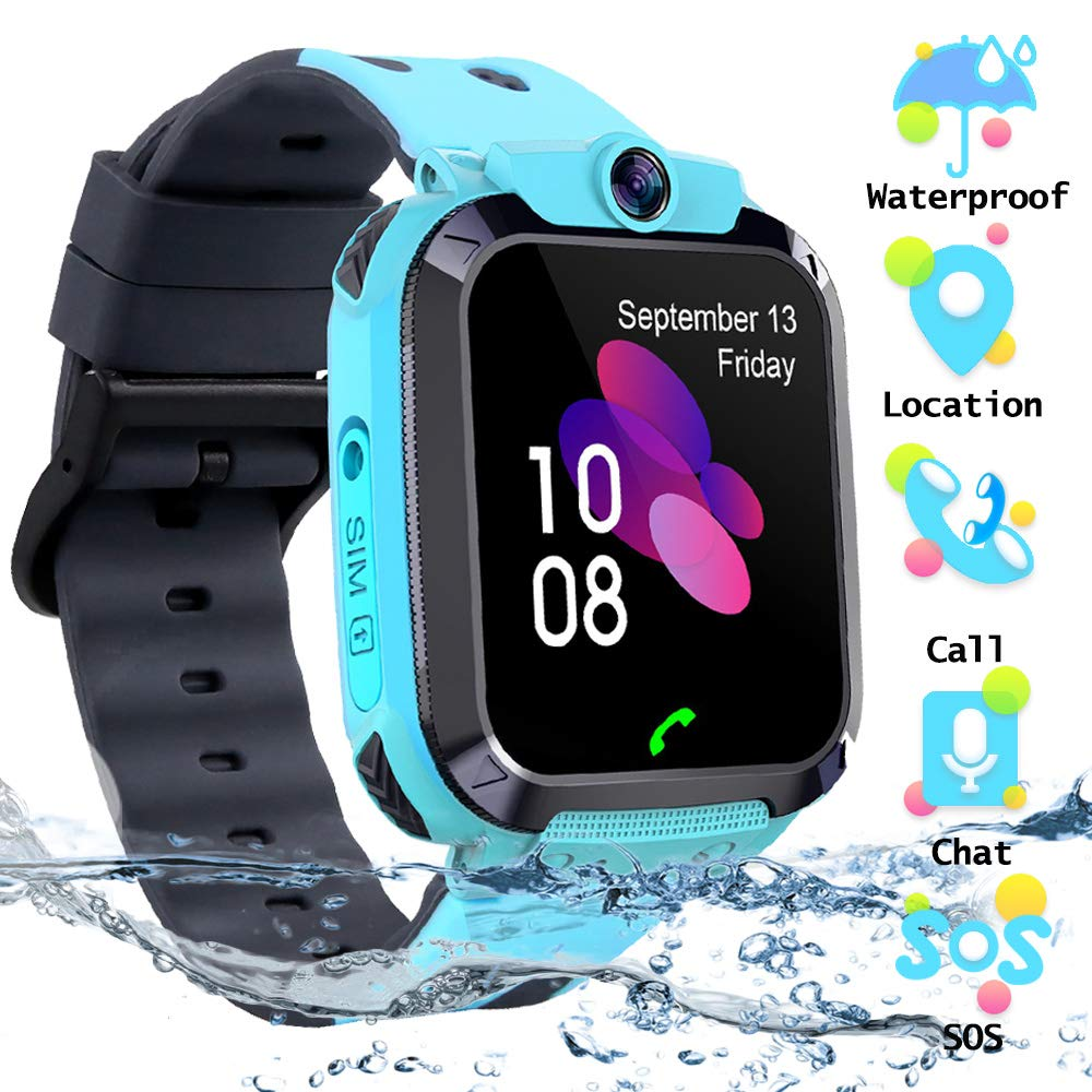 Kids Waterproof Smart Watch Phone, SZBXD LBS/GPS Tracker Touchscreen Smartwatch Games SOS Alarm Clock Camera Smart Watch Christmas Birthday Gifts for School Boy Girls (Blue) by SZBXD