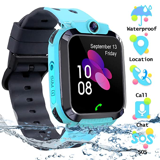 Kids Waterproof Smart Watch Phone, SZBXD LBS/GPS Tracker Touchscreen Smartwatch Games SOS Alarm Clock Camera Smart Watch Christmas Birthday Gifts for ...