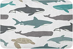"Adowyee 20""x30"" Bath Mat Sea Great White Shark Turtle Atlantic Bottlenose Dolphin Cozy Bathroom Decor Bath Rug with Non Slip Backing"