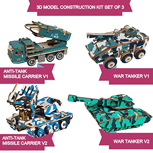 Anti Missile Tank - 3D Wooden Puzzle Kit Set of 4 Crafts Build Wooden Tank Models Series: Include 2X Anti Tank Missile Carrier and 2X War Tanker