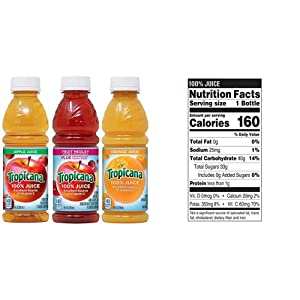 Tropicana 100% Juice 3-flavor Classic Variety Pack, 10 Ounce Bottles, 24 Count & Juice, Strawberry Orange, 10 Ounce (Pack of 15)