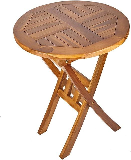 Trueshopping Mesa Redonda de Madera Maciza - Muebles de Exterior de Teca Maciza Ideal para Jardín, Patio, Bistró, Comedor, Bebidas y Más: Amazon.es: Hogar