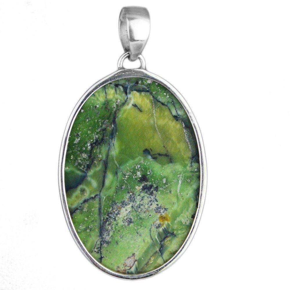 Crystalcraftindia 925 Sterling Silver rain forest jasper gemstone Pendant 8.18 g Jewelry CCI
