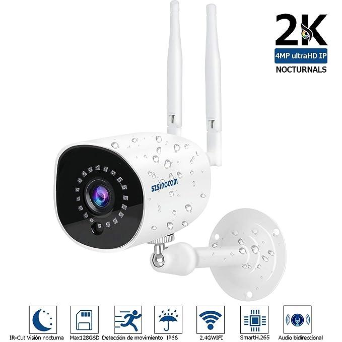 Cámaras de Vigilancia Exterior,SZSINOCAM 2304 * 1536 4MP IP Cámara WIF CCTV Sistema visión nocturna,móvil alarma empuje,Auto giratorio, 2 Vías de ...