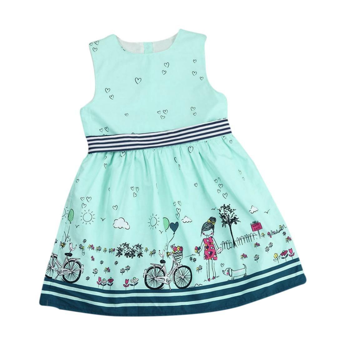Jarsh Baby Girls Cotton Cartoon Striped Sleeveless Princess Dress Summer Clothes