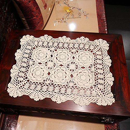 Damanni 15 Inch by 19 Inch Rectangular Cotton Handmade Crochet Lace Table Runner Doilies for Coffee Table Dresser Scarf Décor,2PC/Set (15x19 Inch, - Set Doily