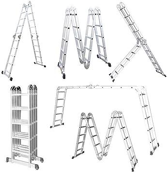 LARS360 6 en 1 Escalera de Tijera 5.5M Escalera Multifunción Plegable Escalera Articulada con Plataforma 4x5 Escalera de aluminio Escalera combinada de alta calidad, Cargable hasta 150 kg: Amazon.es: Bricolaje y herramientas