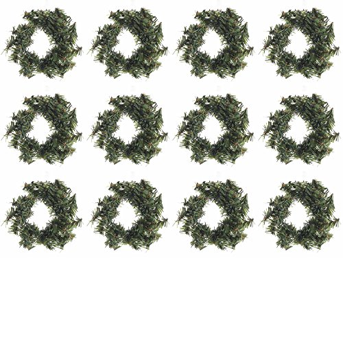 Christmas Mini Wreath - Factory Direct Craft Group of 12 Miniature Artificial Holiday Pine Wreaths (3-1/2 Inch)