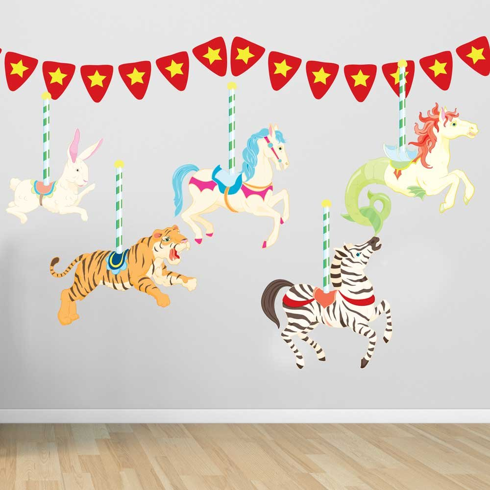 Amazon carousel wall decal set by chromantics home kitchen amipublicfo Image collections
