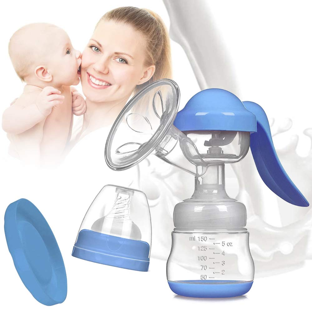 varibasu Manual Breast Pump, Portable Milk Pump, Big Capacity Soft Silicone Powerful Suction, Press Handle, with Nipple and Cover, Easy to Control Vacuum, BPA Free, 5oz/150ml, 84MM (Blue) by varibasu