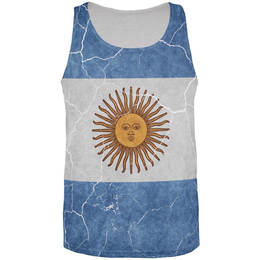 Old Glory Distressed Argentina Flag All Over Mens Tank Top