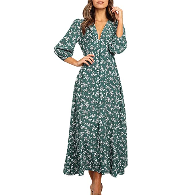 Modaworld Vestido Largo para Mujer con Estampado Floral y ...