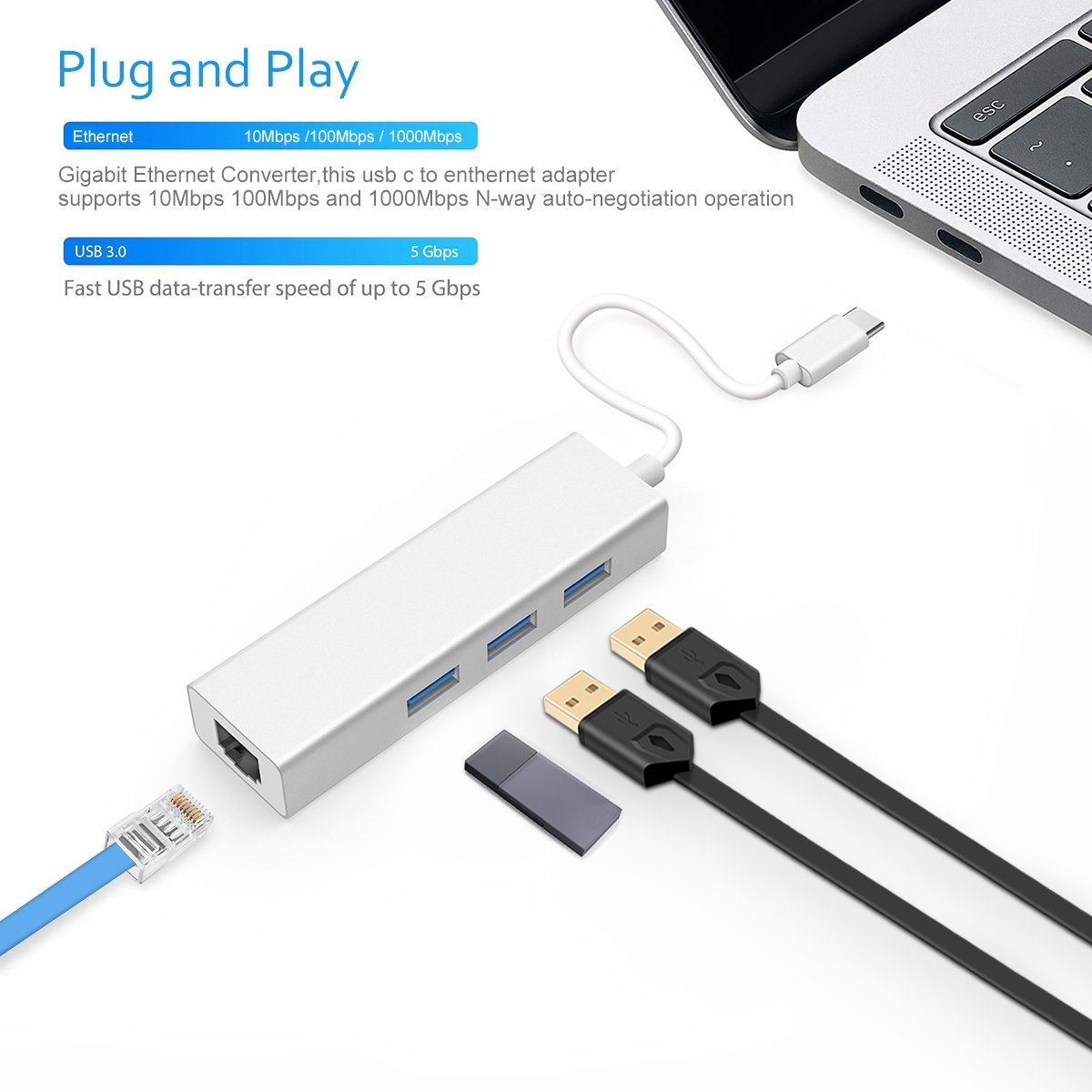 Vacio USB Type C to USB Adapter,3.1 USB C(Thunderbolt 3) to 3 Port USB3.0 Hub with Type-c Female Extension Interface for MacBook / MacBook Pro / Chromebook Pixel