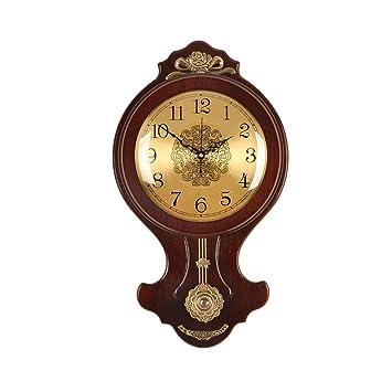 Pan&Pan Reloj de Pared con péndulo, Reloj de Madera Decorativo silencioso con péndulo oscilante,