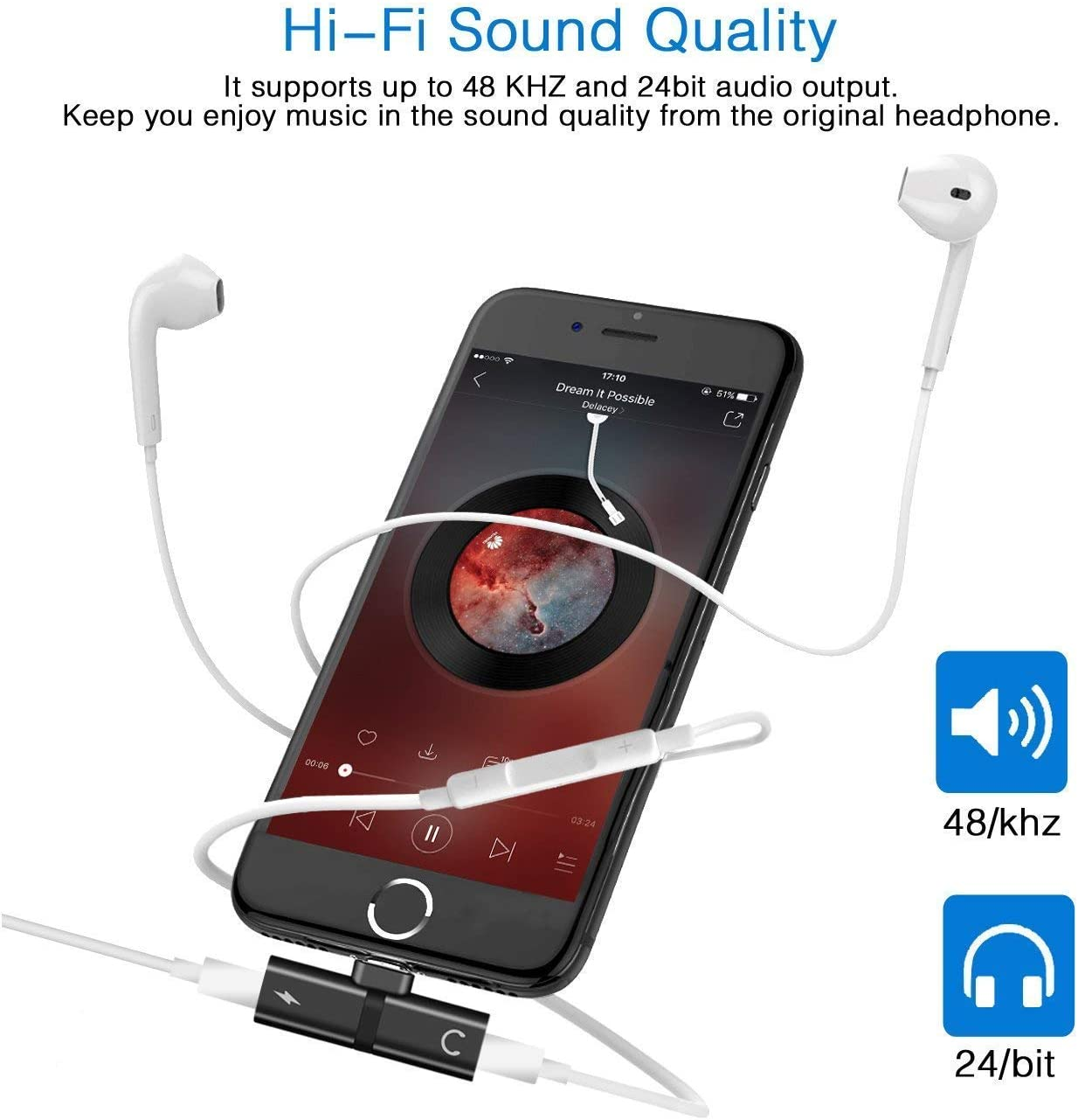 2 Packs 2 in 1 Dual Splitter Earphone Audio Cable Accessories Audio and Charger Aux Headset Adapter for iPhone Adapter Headphone Splitter for iPhone 7 8 Plus X Xs Max iOS 10.3 or Higher