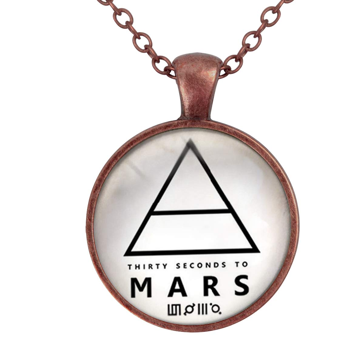 Family Decor Triangle Mars Pendant Necklace Cabochon Glass Vintage Bronze Chain Necklace Jewelry Handmade