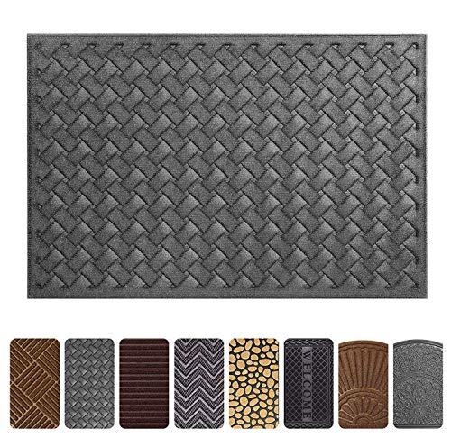 Gray Outdoor Door Mats - Mibao Entrance Door Mat, 24 x 36 inch Large Non-Slip Welcome Front Outdoor Rug, Doormat Entry, Patio